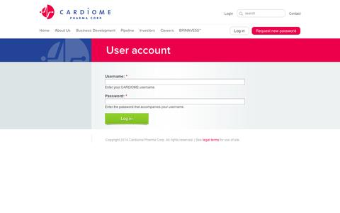 Screenshot of Login Page cardiome.com - User account | CARDIOME - captured Sept. 12, 2014