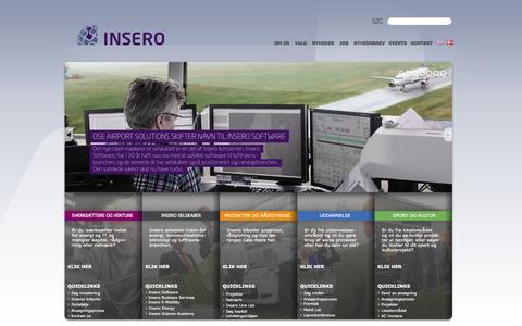 Screenshot of Home Page insero.dk - Insero tilbyder nye, innovative løsninger til energi-, kommunikationsteknologi- og lufthavnsbrancherne - captured Sept. 25, 2014