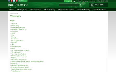 Screenshot of Site Map Page spyequipmentuk.co.uk - Sitemap - Spy Equipment UK - captured Sept. 21, 2018