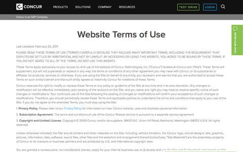 Concur Terms of Use - Concur