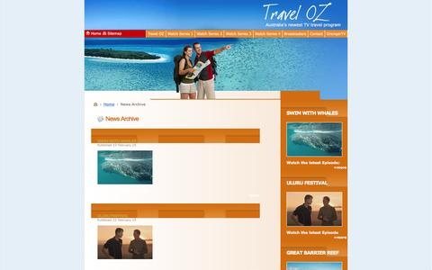 Screenshot of Press Page traveloztv.com - News Archive - captured May 3, 2016