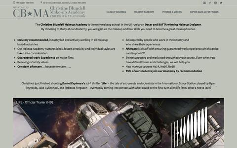 Screenshot of Home Page cbmacademy.com - Christine Blundell Makeup Academy - Oscar & BAFTA Winning School - captured Nov. 5, 2016