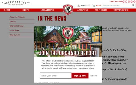 Screenshot of Press Page cherryrepublic.com - In the News   Cherry Republic - Michigan cherry products and gifts - captured May 16, 2017