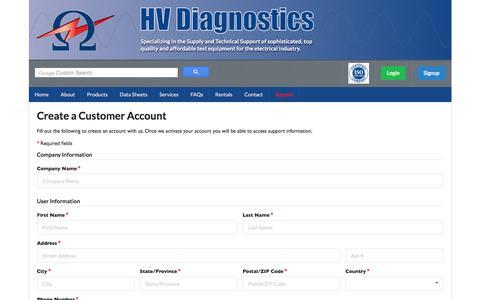 Screenshot of Signup Page hvdiagnostics.com - HV Diagnostics -  Leading supplier of electrical test equipment - captured July 11, 2017
