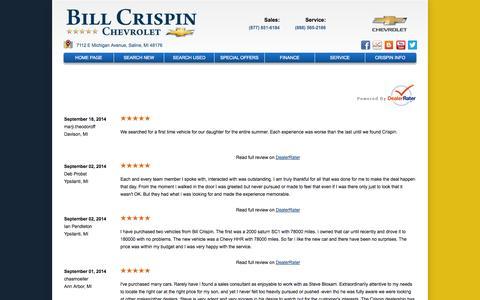 Screenshot of Testimonials Page billcrispinchevrolet.com - Bill Crispin Chevrolet Reviews | Chevrolet Dealer Serving Ypsilanti - captured Sept. 30, 2014
