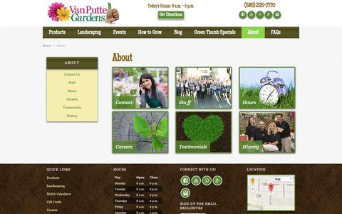 Screenshot of About Page vanputte.com - About Us | Rochester NY | Van Putte Gardens - captured Sept. 29, 2018