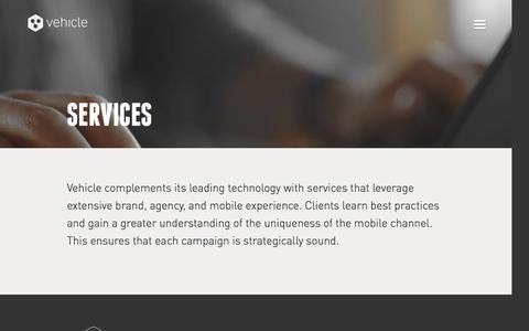 Screenshot of Services Page vhcl.co - Services | Vehicle - captured Feb. 16, 2016