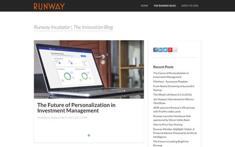 Screenshot of Blog runway.is - Runway Incubator | The Innovation Blog - captured Aug. 12, 2017