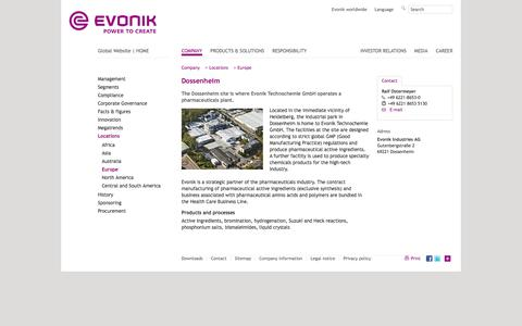 Dossenheim - Evonik Industries - Specialty Chemicals