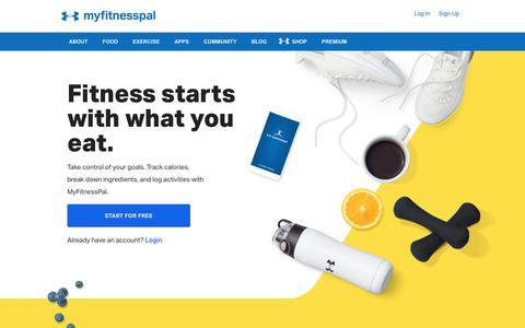 Screenshot of Home Page myfitnesspal.com - MyFitnessPal | MyFitnessPal.com - captured Oct. 2, 2019