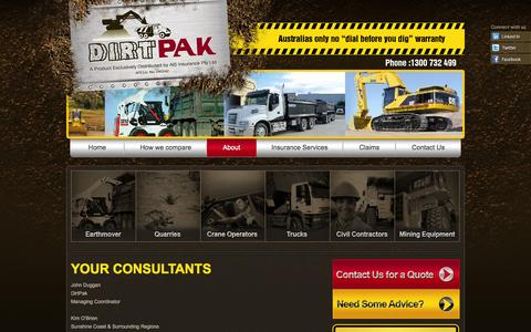 Screenshot of About Page dirtpak.com.au - DirtPak - Insurance for Heavy Machinery - captured Oct. 5, 2014