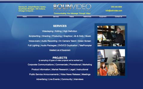 Screenshot of Services Page bolinvideo.com - Services | HD Video Production, Videotaping, Editing, Corporate and Commercial Video, Advertising, Marketing, Promotional - captured Oct. 5, 2014