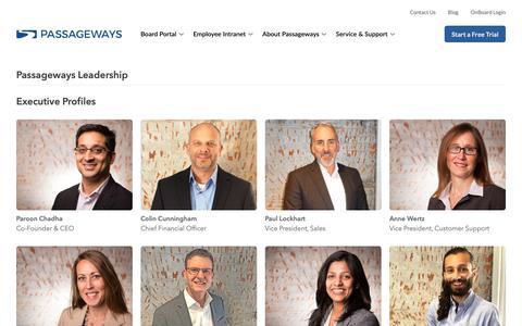 Screenshot of Team Page passageways.com - Passageways Leadership - Passageways Board Portal Software - captured May 19, 2019