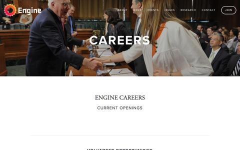 Screenshot of Jobs Page engine.is - ENGINE is hiring in Washington DC, San Fransisco and New York City. — ENGINE - captured Nov. 7, 2016