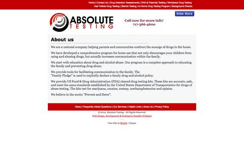 Screenshot of About Page absolutetestingservice.com - Absolute Testing - Absolute Testing - About Us - captured Oct. 4, 2014