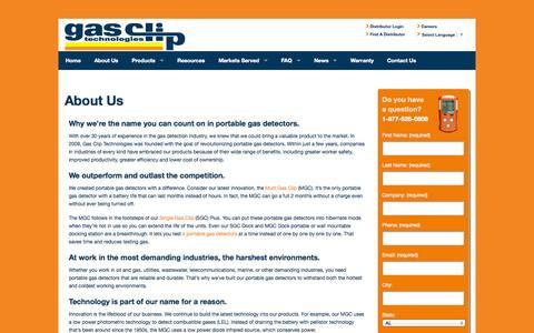 Screenshot of About Page gascliptech.com - Portable Gas Detectors , h2s, o2 Monitors - Gas Clip Technologies - captured Nov. 1, 2014