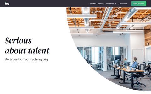 Screenshot of Jobs Page ipv.com - Start Your Career with Us - IPV - captured Sept. 15, 2019