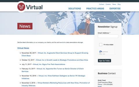 Screenshot of Press Page virtualmgmt.com - News for Professional Associations   Association Management Company - captured Dec. 9, 2017