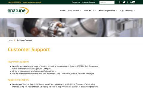 Screenshot of Support Page anatune.co.uk - Customer Support - Anatune - captured Dec. 18, 2018