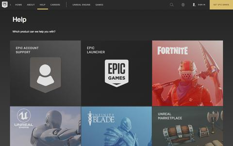 Screenshot of Support Page epicgames.com - Epic Games | Customer Service - captured July 18, 2018