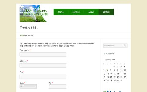 Screenshot of Contact Page mrlawnirrigation.com - Contact - Mr. Lawn Irrigation - captured Oct. 7, 2014