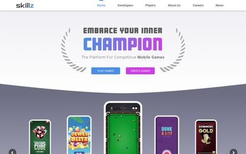 Screenshot of Home Page skillz.com - Skillz:  Competitive Mobile Games Platform & Software – Embrace Your Inner Champion - captured Nov. 10, 2019