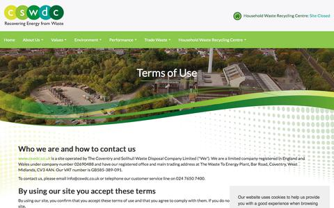 Screenshot of Terms Page cswdc.co.uk - Terms of Use - captured July 15, 2018