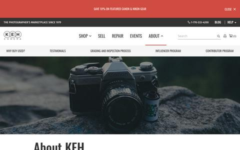 Screenshot of About Page keh.com - About Us at KEH Camera - captured July 10, 2019