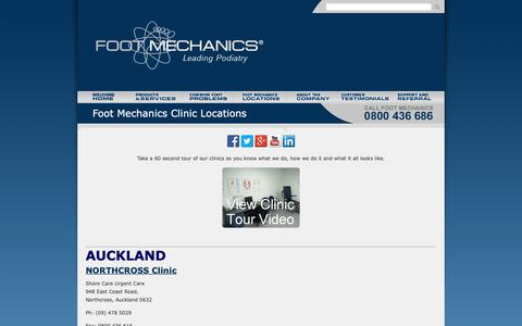Screenshot of Locations Page footmechanicspodiatry.co.nz - Foot Mechanics Podiatry Clinics NZ - captured Oct. 10, 2018