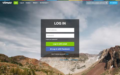 Screenshot of Login Page vimeo.com - Log in to Vimeo - captured Jan. 3, 2016