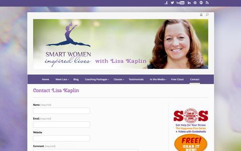 Screenshot of Contact Page smartwomeninspiredlives.com - Contact Lisa Kaplin - Smart Women Inspired Lives - captured Sept. 25, 2014