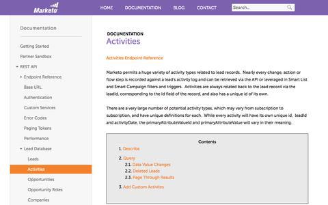 Screenshot of marketo.com - Activities - Marketo Developers - captured June 8, 2017