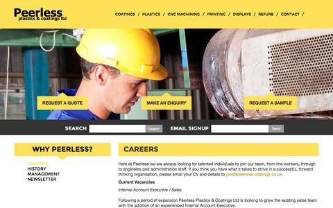 Screenshot of Jobs Page peerless-coatings.co.uk - Jobs and Careers at Peerless Plastics - captured July 20, 2017