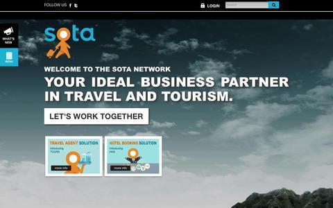 Screenshot of Home Page sotanetwork.com - SOTA Network : Affordable Online Business Solutions for Travel Agents and Hotels - captured Jan. 21, 2016