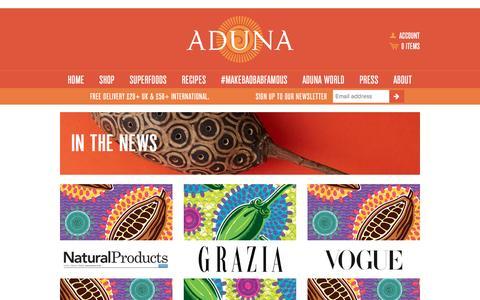 Screenshot of Press Page aduna.com - In the News – Aduna - captured Jan. 20, 2016