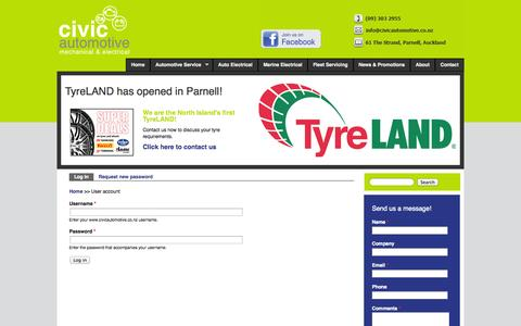 Screenshot of Login Page civicautomotive.co.nz - User account | Automotive Mechanical Electrical for Vehicle and Marine | TyreLAND Tyres | Mobile Fleet Servicing | Parnell Auckland | www.civicautomotive.co.nz - captured Oct. 2, 2014