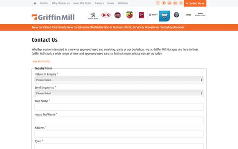 Screenshot of Contact Page griffinmill.co.uk - Contact Us | South Wales | Griffin Mill - captured Sept. 30, 2018