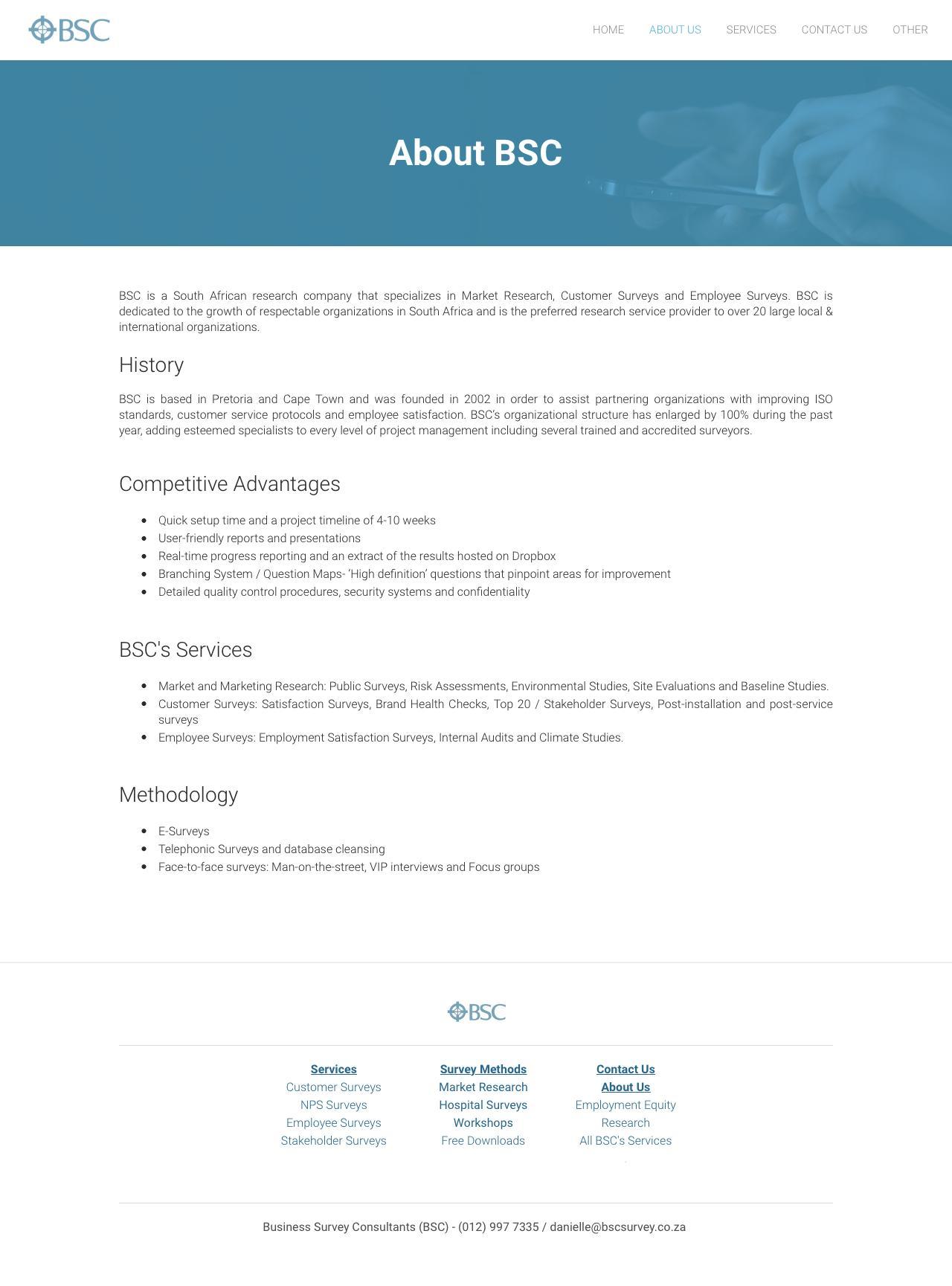 Screenshot of businesssurveyconsultants.com - About BSC - Business Survey Consultants - Business Survey Consultants - captured Feb. 8, 2016