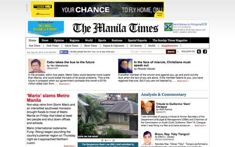 Screenshot of Home Page Privacy Page Site Map Page manilatimes.net - The Manila Times Online - Trusted Since 1898The Manila Times Online | Trusted Since 1898 - captured Sept. 19, 2014
