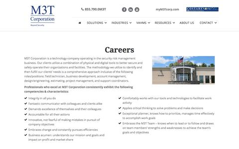 Screenshot of Jobs Page m3tcorporation.com - Careers - M3T Corporation - captured July 18, 2018