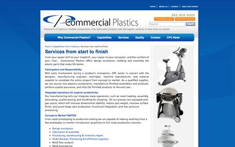 Screenshot of Services Page ecommercialplastics.com - Services from start to finish - Commercial Plastics - captured Nov. 11, 2015