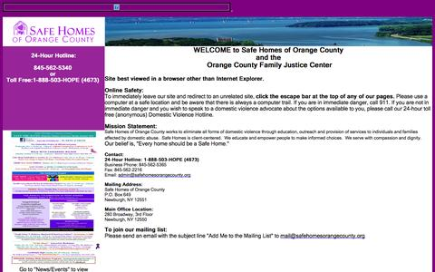 Screenshot of Home Page safehomesorangecounty.org - Safe Homes of Orange County - captured Oct. 4, 2014