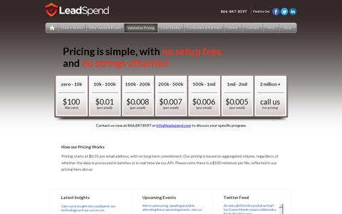 Screenshot of Pricing Page leadspend.com - Email Validation Pricing - captured July 19, 2014