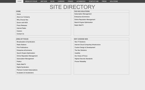Screenshot of Site Map Page noxsolutions.com - Site Directory - captured Oct. 7, 2014