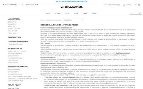 Screenshot of Privacy Page luisaviaroma.com - Contact us - Luisaviaroma - captured Nov. 7, 2018