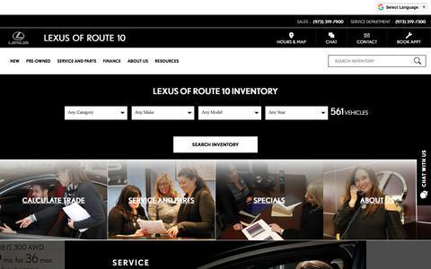 Screenshot of Home Page lexusofroute10.com - Lexus Dealership in NJ | Lexus Service Center | Lexus of Route 10 Whippany NJ Hanover NJ - captured July 18, 2018