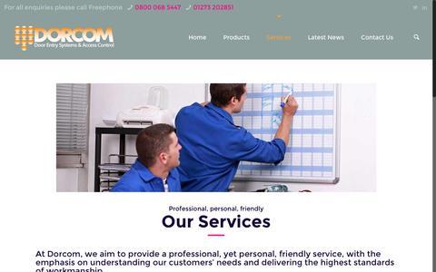 Screenshot of Services Page dorcom.co.uk - Door Entry Systems | Intercom Maintenance | Servicing and Repair | Dorcom - captured Nov. 24, 2016