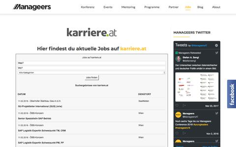 Screenshot of Jobs Page manageers.at - Jobs | Manageers Community - captured Feb. 11, 2018