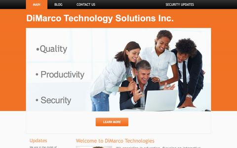 Screenshot of Home Page dimarcotech.com - DiMarco Technology Solutions Inc. - captured Oct. 5, 2014