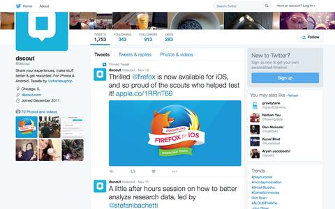 Screenshot of Twitter Page twitter.com - dscout (@dscout) | Twitter - captured Nov. 16, 2015